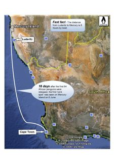 Namibian penguin first arrival - map