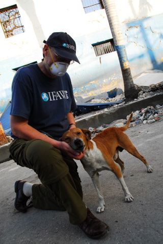 Dr. Ian Robinson examines a dog found wandering the streets of Port-au-Prince.